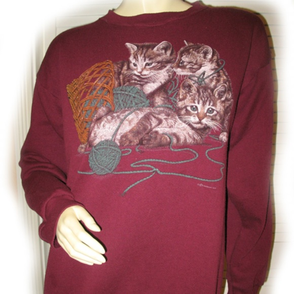 1d44acf534a Mens Womens Crew Neck Pullover Sweater Cat Cats L